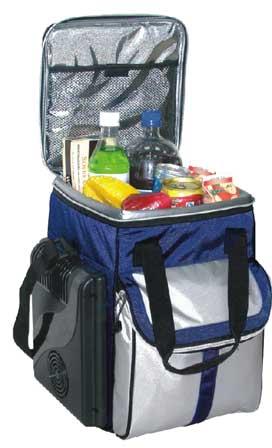 В сумке есть специальные аккумуляторы холода.  Удобно в жару ездиь...